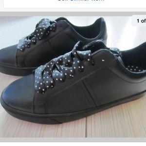 Zara Basic Black Polka Dot Tie Up Sneakers Size 9